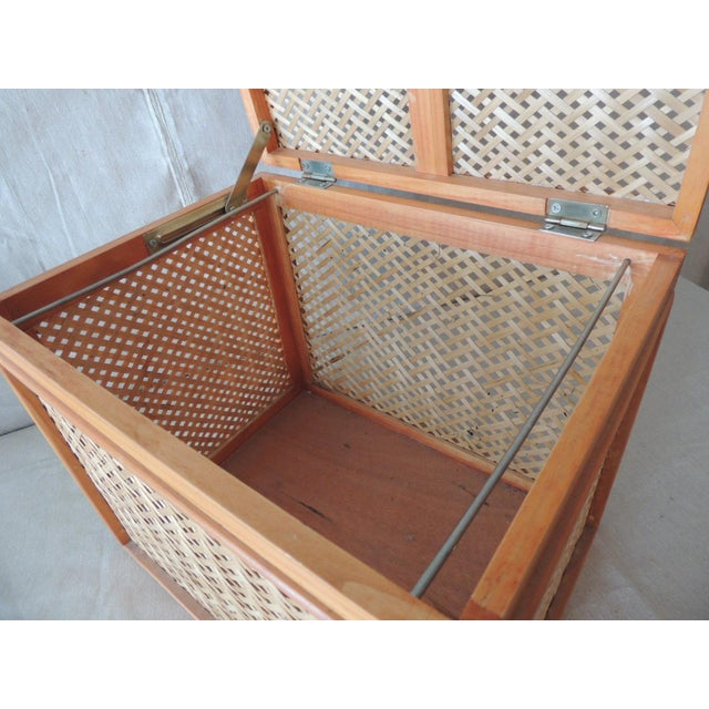 Woven Bamboo Trellis Pattern Filing Box With Lid For Sale In Miami - Image 6 of 7