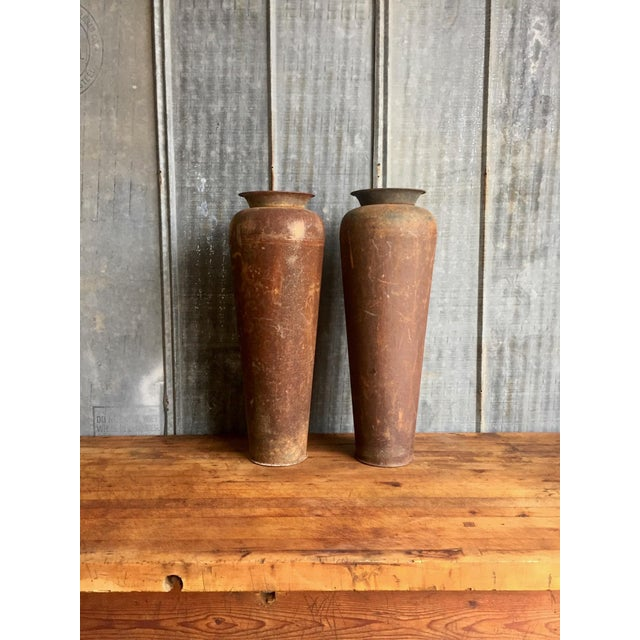 Industrial Tall Vintage Metal Urns - A Pair For Sale - Image 3 of 11