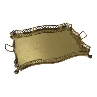 Vintage Rectangular Brass Serving Tray With Handles