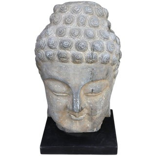 Antique Sandstone Buddha on Steel Base $2,400 For Sale