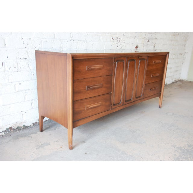 Danish Modern Broyhill Emphasis Mid-Century Modern Sculpted Walnut Triple Dresser Credenza For Sale - Image 3 of 12