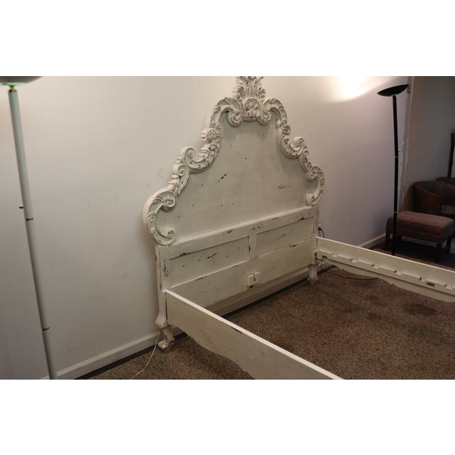 French Country Distressed Queen Bed For Sale - Image 5 of 11