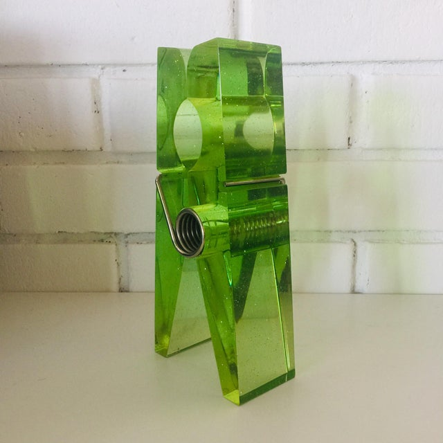 Memphis Lime Green Giant Lucite Clothespin For Sale - Image 3 of 12