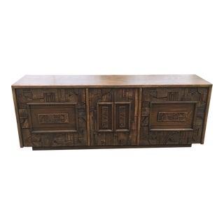 Mid Century Lane Pueblo Brutalist 9 Drawer Dresser Credenza For Sale