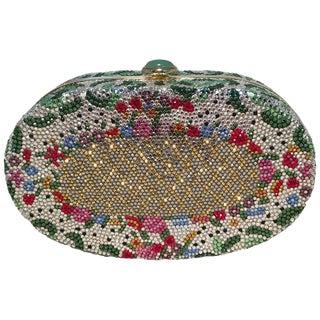 Judith Leiber Vintage Swarovski Crystal Floral Print Oval Minaudiere Evening Bag For Sale