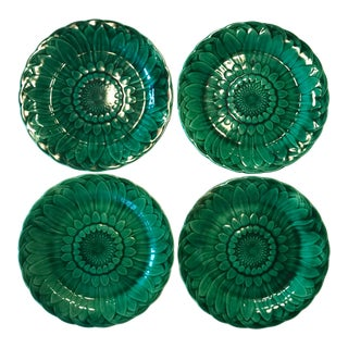 1900s English Traditional Wedgwood Majolica Plates - Set of 4 For Sale