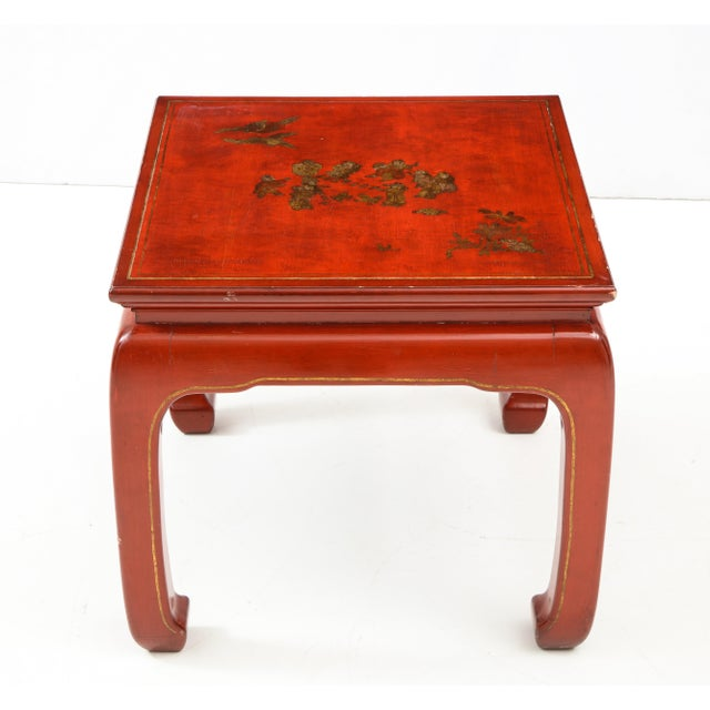 Asian Chinoiserie Red Lacquered End Tables - a Pair For Sale - Image 3 of 10