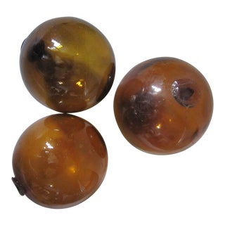 Vintage Amber Glass Fishing Floats - Set of 3 For Sale