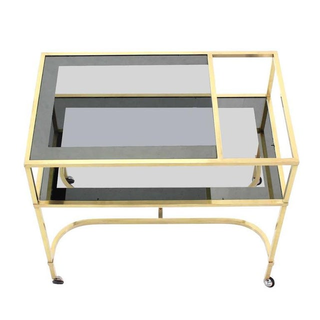 Nice Solid Brass Profile Serving Cart For Sale - Image 4 of 10