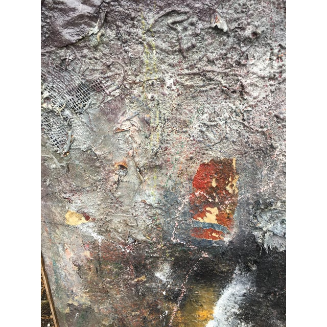 """Abstract Tall Abstract """"Summer 1988"""" Gray Mixed Media Painting by Louis Papp For Sale - Image 3 of 8"""
