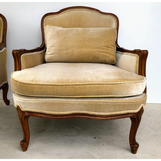 Weiman High Quality Custom Furniture in Queen Anne Bergere Chairs (2) are gorgeous in a neutral brushed velvet. Color is...