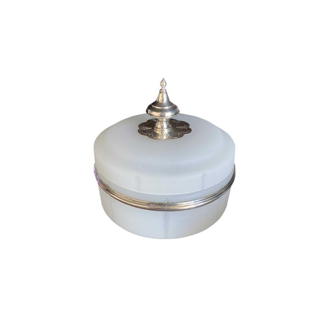 Antique Opaline Box With Silver Finial For Sale - Image 9 of 10
