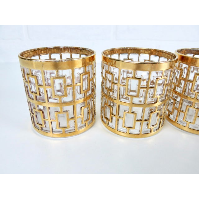 "Set of 4 Rare 2.75"" Imperial Glass 24k Gold Shoji Cocktail Glasses - Image 4 of 7"
