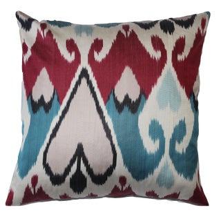Contemporary Velvet Ikat Pillow Cover Bohemian Pillow For Sale