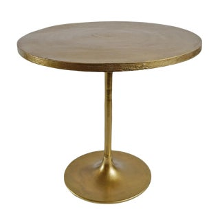 Brass Finish Round Bistro Table For Sale