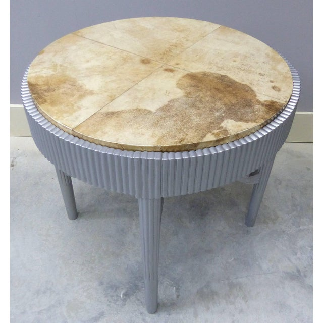 Albert Rateau French Art Deco Lacquered Tables With Goatskin Tops, Pair For Sale - Image 4 of 11