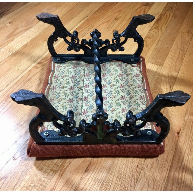 Kingman Needlepoint & Cast Iron Claw Foot Stool For Sale - Image 10 of 11