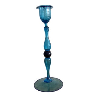 Cobalt Blue Single Venetian Glass Candle Stick Holder For Sale