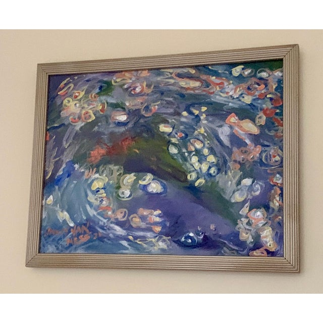 """Impressionist """"Carpe Diem"""" Contemporary Abstract Oil Painting, Framed For Sale - Image 3 of 11"""