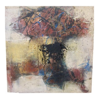 Late 20th Century Harouna Ouedraogo Signed Original Oil Abstract Landscape Painting For Sale