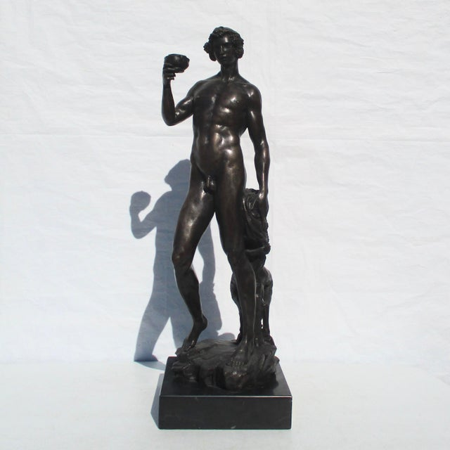 Bronze Bacchus and Fawn Sculpture For Sale - Image 9 of 10