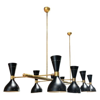 Mid-Century Brass and Lacquered Metal Eight Light Chandelier, Italy, 1960s For Sale