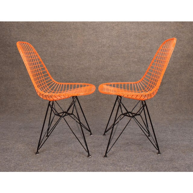 Vintage Herman Miller for Eamer Mid-Century Dkr Orange Chairs - Image 8 of 11