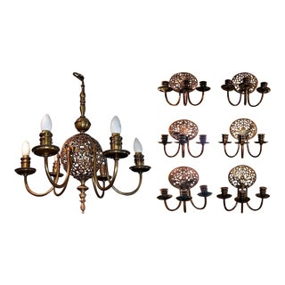 Early 20c Bronze Chandelier & Wall Light Set For Sale
