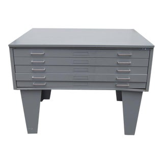 Vintage Metal Mayline Five Drawer Lateral Flat Filing Cabinet For Sale