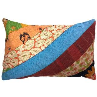 Patchwork Kantha Lumbar Pillow For Sale