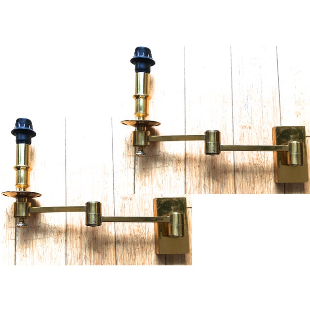 Brass Maison Jansen Pair of Extendable Sconces For Sale - Image 7 of 7
