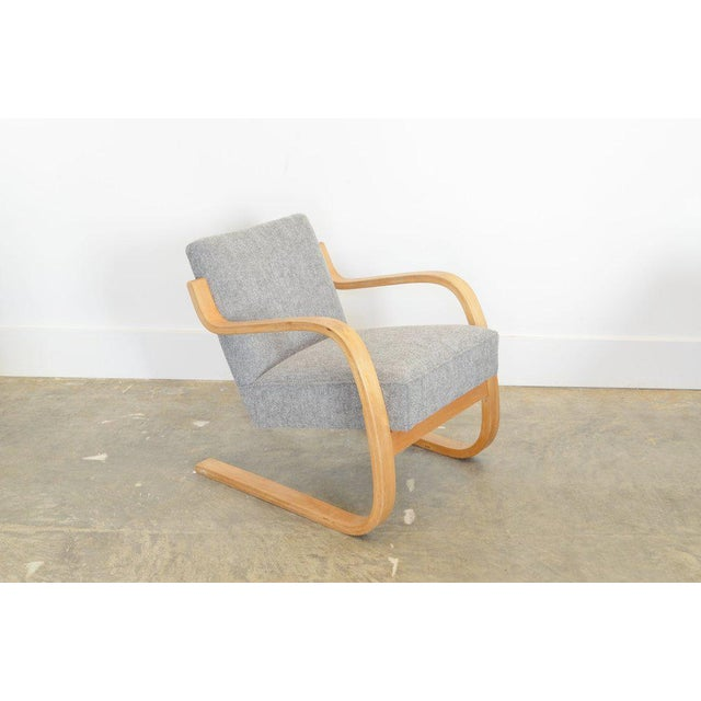 Wood Alvar Aalto 34/402 Model Cantilever Chair in Pierre Frey For Sale - Image 7 of 7