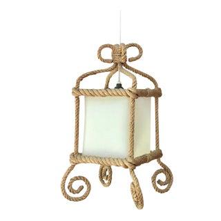 Rope Square Lantern Chandelier Audoux Minet Circa 1960 For Sale