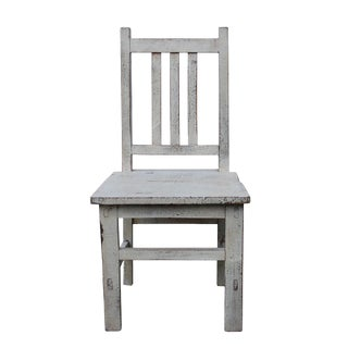 Oriental Handmade Rustic White Color Mini Small Wood Chair For Sale