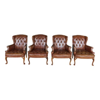 Chippendale Style Tufted Seat & Back Wing Back Arm Chairs - Set of 4 For Sale