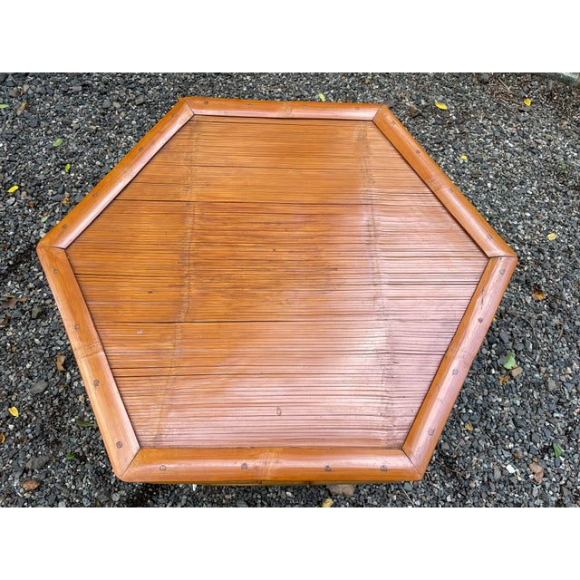 Wood Vintage Bamboo Octagonal Side Table For Sale - Image 7 of 9