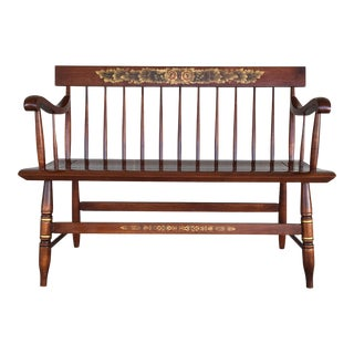 L. Hitchcock Riverton Harvest Windsor Style Deacon's Bench For Sale
