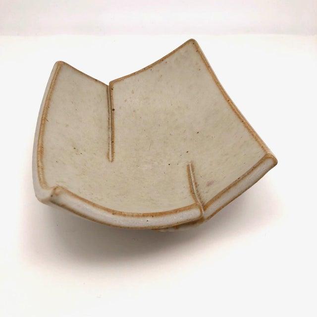 Cream Glazed Hand-Formed Slab Pottery Bowl Signed Burke For Sale In Boston - Image 6 of 13