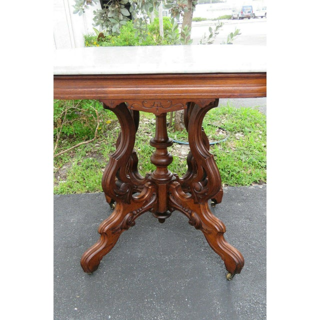 Late 19th Century Victorian Eastlake Carved Marble Top Large Side End Center Table For Sale - Image 5 of 11