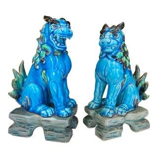 Japanese Blue Glazed Foo Dogs, Pair For Sale