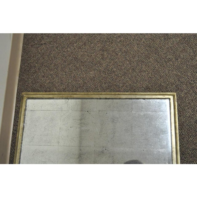 Neoclassical Style Gilt Metal Silver Leaf Mirror Top Coffee Table - Image 9 of 11