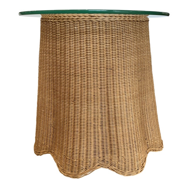 1960s Draped Wicker Side Table For Sale