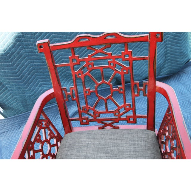 2010s Uttermost Camdon Red Accent Chair For Sale - Image 5 of 6