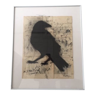 Crow on Vintage Book Leaves Graphite Drawing For Sale