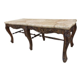 French Country Farmhouse Wood Pecan Floral Bench For Sale