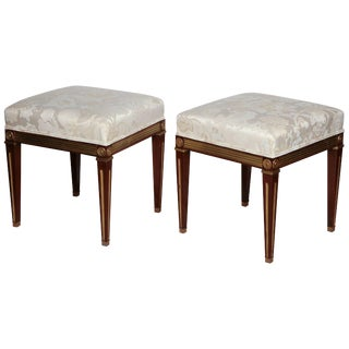Pair of Russian Neoclassic Stools For Sale