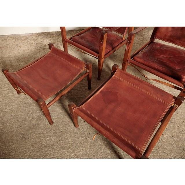 1950s Kaare Klint Safari Chairs and Footstools, Rud Rasmussen, Denmark, 1950s For Sale - Image 5 of 11