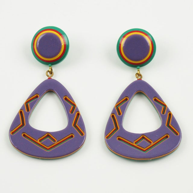 French Dangling Pierced Earrings Purple Lucite and Tribal Carving For Sale - Image 3 of 6