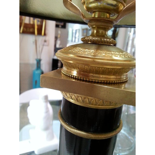 Black Enamel and Bronze Table Lamp French Empire Revival For Sale In West Palm - Image 6 of 12