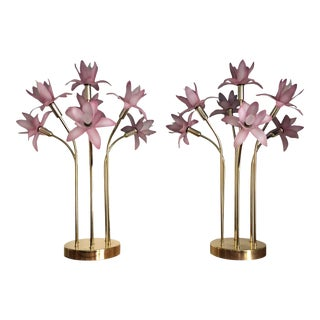 Late 20th Century Modern Brass & Acrylic Flower Table Lamps - a Pair For Sale